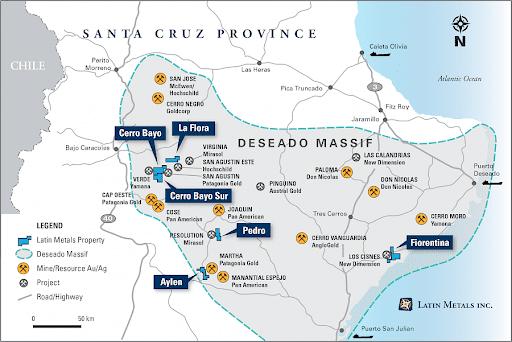 Latin Metals santa cruz project map
