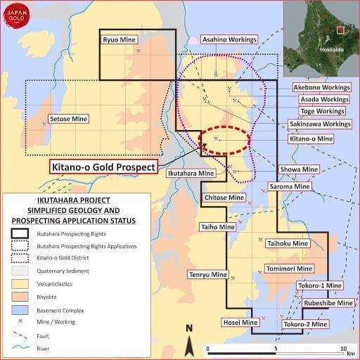 japan gold ikutahara project map