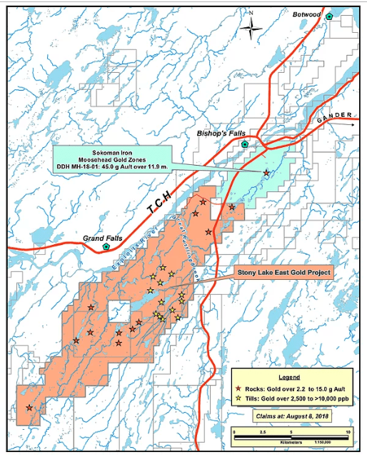 copper fox sokoman stony lake project map
