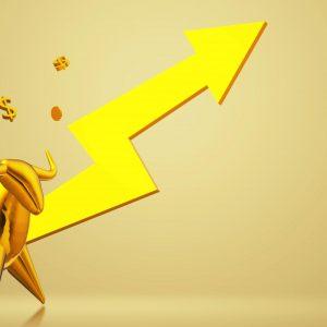 Gold Bull with Upward Arrow
