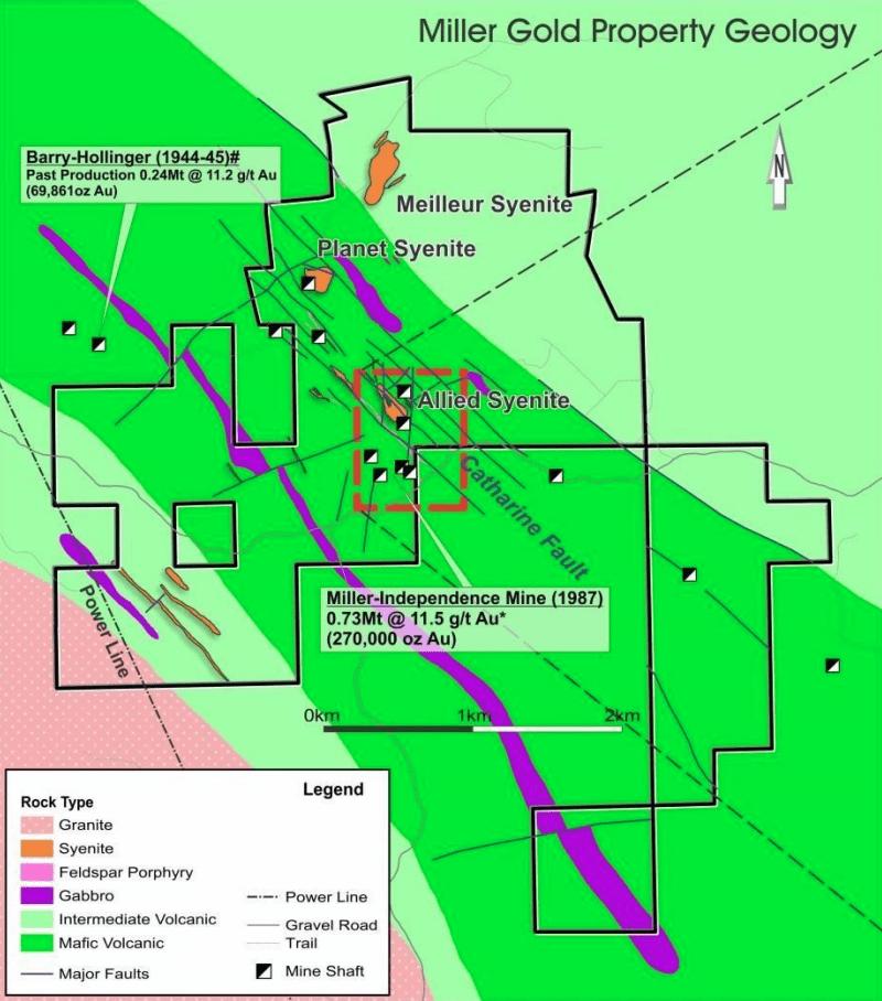 northstar gold map miller gold property