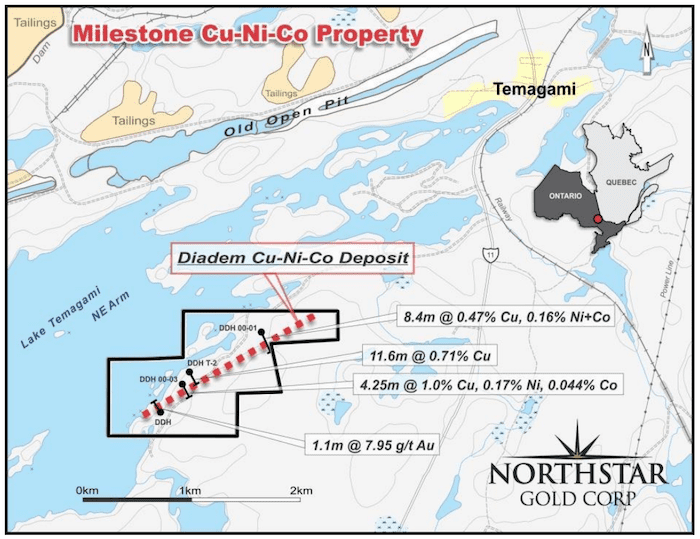 northstar gold map milestone property
