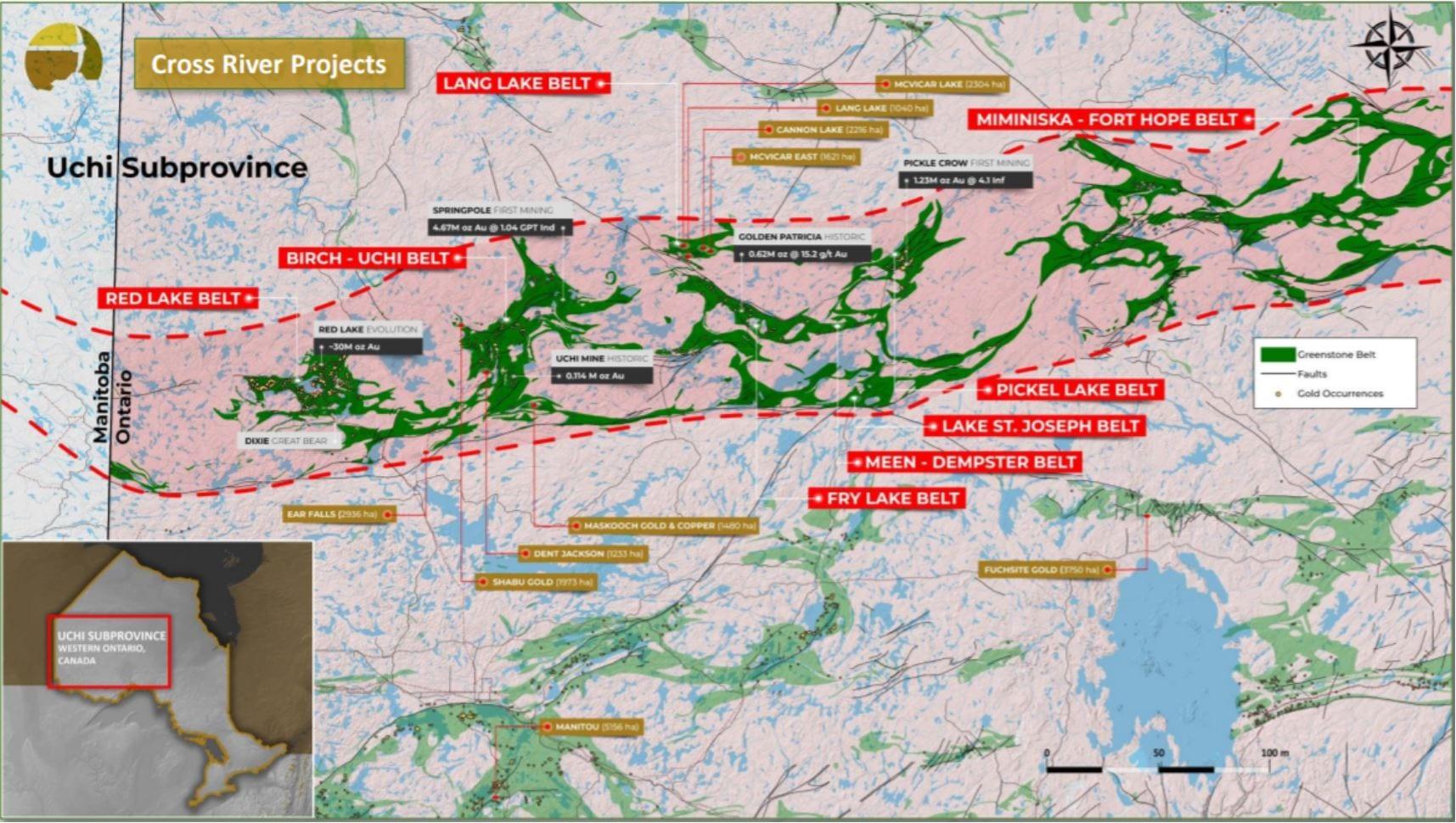 map of cross river ventures' uchi belt projects