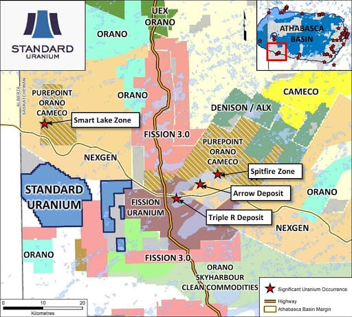 standard uranium athabasca map
