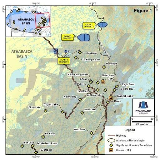 standard uranium project map